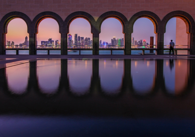 Qatar, Doha, Museum of Islamic Art during blue hour